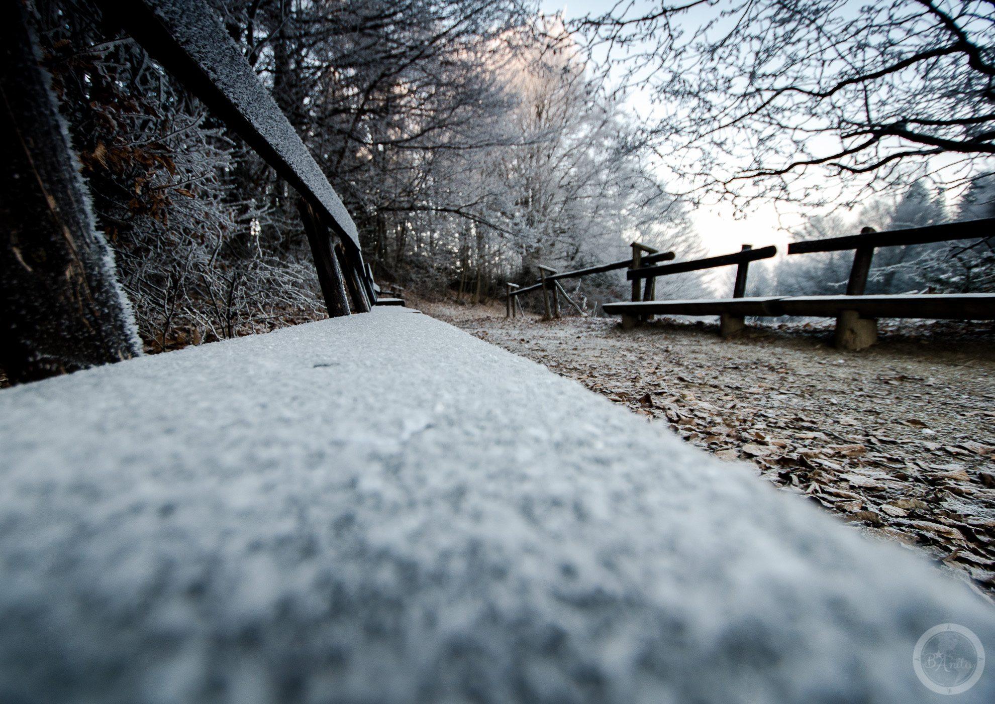 Ławeczka pokryta szronem stojąca przy szalku naTrzy Korony wPienińskim Parku Narodowy