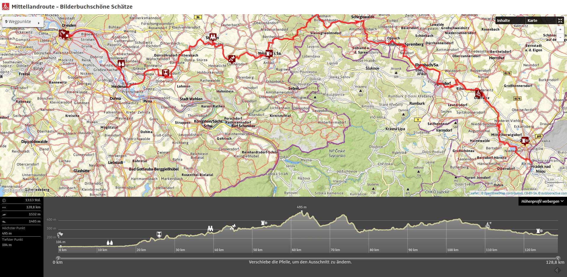 Mitteland route mapa