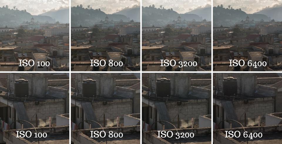 Zdjęcie robione zbalkonu domu wGwatemali. Nadużym zdjęciu niewidać różnicy, alegdyprzyjrzymy się fragmentom zdjęcia zbliska, tę różnicę już widać